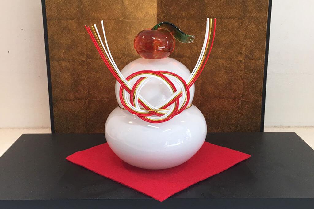 三垣 祥太郎 ガラスのオブジェ 鏡餅